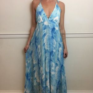 Alice + Olivia Blue Dyed Pleated Maxi Halter Dress